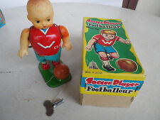 SOCCER PLAYER TIN TOYS WIND UP JOJA TOY GENUINE JAPAN 1960'S   FOOTBALL