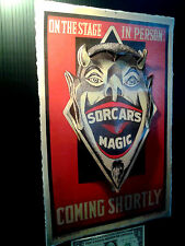 3-D Sorcar's Magic Poster Vintage Leather like feel large 11x17