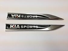 2 PC Sports KIA in Metallo lato FENDER V EMBLEMA BADGE ADESIVO PER KIA 150mm