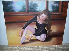 Original Oil Portrait Painting of a Ballerina Signed C Reynolds 16 x 20""