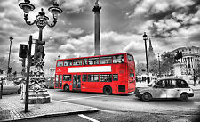 "Street Red Bus London Large Canvas Print  A1 30"" x 20"""