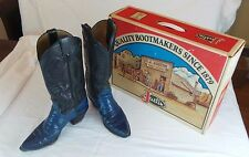VTG JUSTIN ELECTRIC BLUE BLACK LEATHER & IGUANA LIZARD COWBOY WESTERN B OOTS 8B