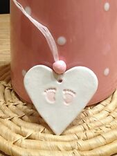 Handmade Clay Gift Tag - New Baby Girl/christening/baby Shower NEW