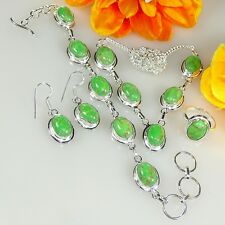 "FOREST GREEN GEMSTONE 925 STERLING SILVER  NECKLACE SET SIZE 17-18"" 6034"