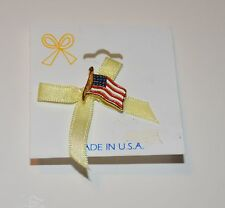 Yellow Ribbon Paired with Flag Gold Tone Metal Pin Brooch