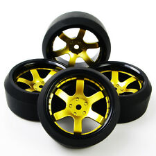 4pcs Set RC Drift Tires Gold Wheel Rim Fit HSP HPI 1:10 On-Road Car D6NKG+PP0370