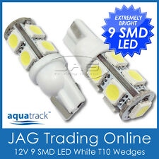PAIR 12V 9-SMD LED T10 WEDGE GLOBES COOL WHITE- Car/Truck/RV Interior Light Bulb