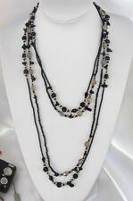 Black doppia Collana Lunga Pietre, perline Cristalli Naturale,perle da donna ,