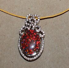 fire opal Cz necklace pendant Gemstone silver jewelry elegant classic cocktail