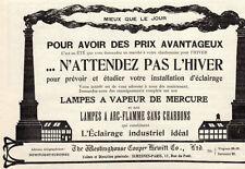 WESTINGHOUSE COPPER HEWITT LAMPES A VAPEUR PARIS PUB PUBLICITE 1914 FRENCH AD