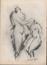 Alexander ARCHIPENKO pencil study 1920 'Figurliche Komposition' signed - COA