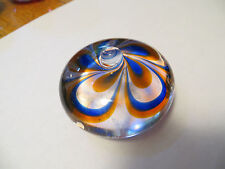 Vintag KOSTA Art Glass Jewel 2 Paperweight Signed Warff Blue Orange Flower Swirl