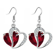Luxury Ruby Red Zircon & Silver Two Hearts Drop Dangle Women Girl Earrings E954