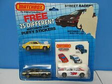 1983 Matchbox Street Racers 3 Car Set with Puffy Stickers
