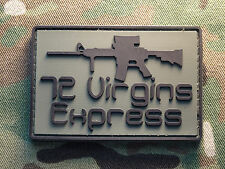 "72 Virgins Express AR-15 OD Green 2x3"" PVC Tactical Hook Morale Patch Infidel"