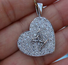 "2ct F/VS-Si2 Micropave ""LV"" logo diamond heart Pendant large locket 18k WG"