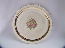 French Saxon China Side Plate with Rose Design 22k Gold Accents Antique