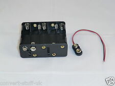 12/15 volt power supply (5x2fat). 10x AA battery holder & PP3 connector cable.
