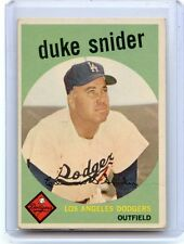 1959 TOPPS BASEBALL #20 DUKE SNIDER, LOS ANGELES DODGERS, HOF, 021017