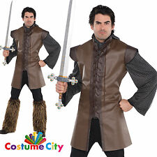 Adulto Uomo Medievale GUERRIERO Senza Maniche Tunica Fancy Dress Party Accessorio Costume