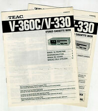 TEAC - V 360C - V 330   USER  MANUAL  ORIGINAL BOOKS