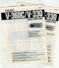 TEAC - V 360C - V 330   USER  MANUAL  ORIGINAL BOOKS