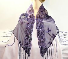PURPLE  SEQUIN TRIANGULAR SHAWL FOR RED HAT LADIES OF SOCIETY