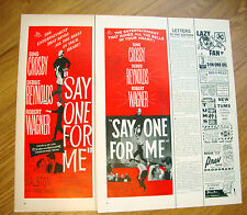 1959 Movie Ad  Say one for Me Crosby Reynolds Wagner Lot of 2 Ads
