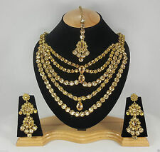 Indian Kundan Jewellery Set Gold Alloy and Rhinestones Beige Stones AQ/215