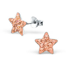 Children's Kids Girls 925 Sterling Silver Star Ear Studs with Crystal-Gift Box