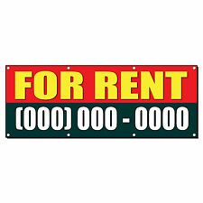 FOR RENT Custom Phone Number 2 ft x 4 ft Banner Sign w/4 Grommets