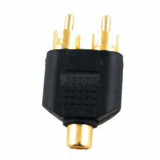 1 RCA Female To 2 RCA Male Plugs Adapter Gold Plated Audio Cable Jack Splitter
