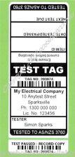 1000 CUSTOM BLACK Printed Electrical Adhesive Test Tag Labels