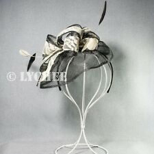Black White Sinamay Feather Loops Racing Fascinator Hatinator Headband Hat