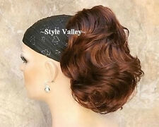 Auburn Ponytail Extension Hairpiece Short Wavy Claw Clip in/on Hair Piece