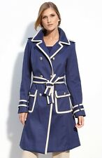 SIZE 10 ST. JOHN COLLECTION BLUE & CREAM BELTED TRENCH COAT NWT $1495