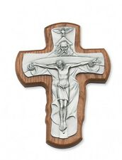 """IVL 5"""" Stained Walnut Wood Hanging Wall Crucifix Silver Plate Holy Trinity Cross"""