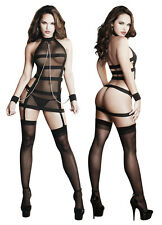 Sexy Straps Mesh Party Wear See through Mini Dress Wristcuff Lingerie, Size S-XL