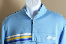 Men's baby blue, yellow and white striped Adidas Golf 1/2 zip Jacket Large L