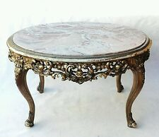 Antique Italian Coffee Table Louis XV Giltwood carved Carrara & Marble Top start