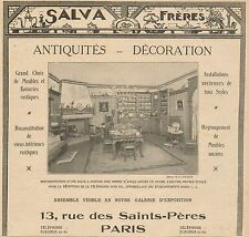 J0660 Salva Fréres Antiquités - Paris - Pubblicità d'epoca - 1922 Old advert