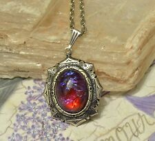 Mexican Fire Glass Opal Antiqued silver Victorian Style Pendant Necklace
