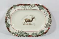 222 Fifth Mount Holly Green Porcelain Christmas Holiday Serving Platter New