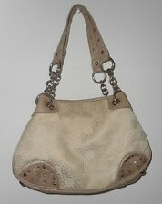 KATHY Van Zeeland HANDBAG  PURSE  Beige  Poly Cotton Studs