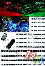12Pc RGB/Red/Green/Blue/Yellow Glow Lights LED Strips Kit Fits Harley Motorcycle