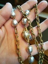 Vintage SIGNED Miriam Haskell ornate baroque pearl Chain Necklace