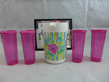Tupperware Tropical Glamour Flower Design 2qt Pitcher & 16oz Pink Tumblers New