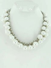 "17"" Adjustable Silver Toned & White Pearl Necklace With Pearl Stud Earrings"
