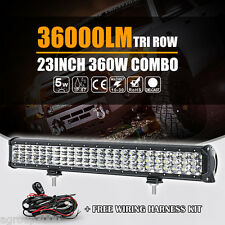 "TRI ROW 23INCH 360W CREE LED WORK LIGHT BAR SPOT FLOOD BEAM FOG LAMP 22"" 24"" 20"""
