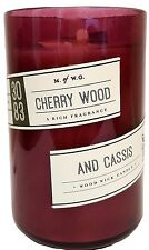 Cherry Wood and Cassis Scented Candle with Wood Wick in Cropped Bottle